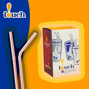 TOUCH-REDSTRIPEDFLEXIBLESTRAW8INCH